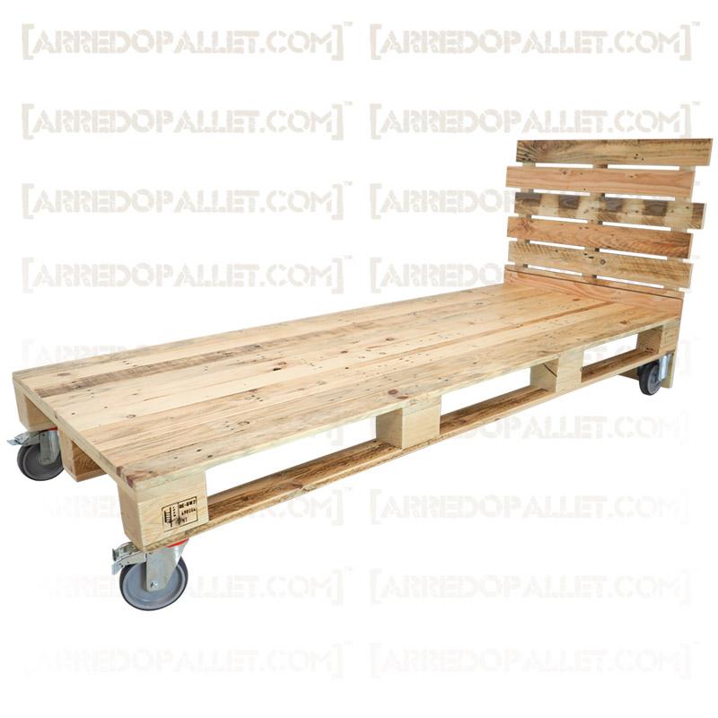 Letto bancali con ruote - letto singolo realizzato con bancali